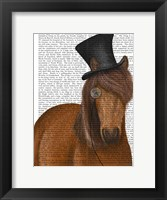 Framed Horse Top Hat and Monocle