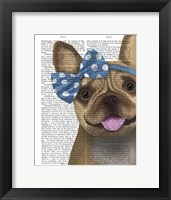 Framed French Bulldog and Blue Bow