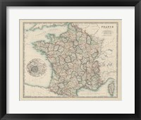 Framed Map of France