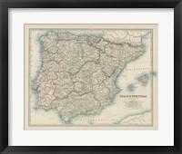 Framed Map of Spain & Portugal