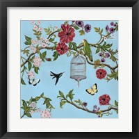 Framed Bird Song Chinoiserie I