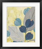 Framed Navy & Citron Floral I