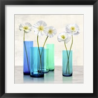 Framed Poppies in crystal vases (Aqua I)