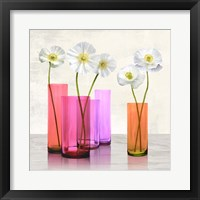 Framed Poppies in crystal vases (Purple I)