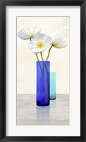 Framed Poppies in crystal vases (Aqua II)