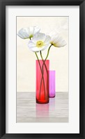 Framed Poppies in crystal vases (Purple II)