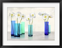 Framed Poppies in crystal vases (Aqua palette)