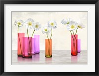 Framed Poppies in crystal vases (Purple palette)