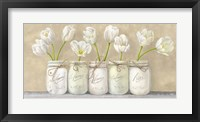 Framed White Tulips in Mason Jars