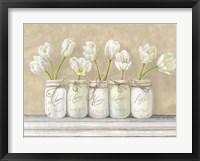 Framed White Tulips in Mason Jars