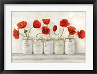 Framed Red Poppies in Mason Jars