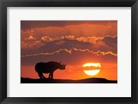 Framed Kenya, Masai Mara Composite Of White Rhino Silhouette And Sunset