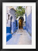 Framed Morocco, Chaouen Narrow Street Lined With Blue Buildings