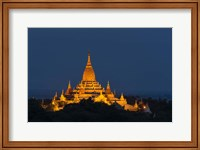 Framed Myanmar, Bagan A Giant Stupa Is Lit At Night On The Plains Of Bagan