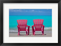 Framed Bahamas, Little Exuma Island Pink Chairs On Beach