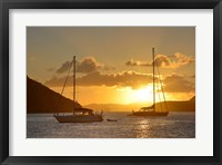 Framed British Virgin Islands, Tortola Caribbean Sunset With Sailboats