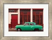 Framed Cuba, Havana Green Car, Red Building On The Streets