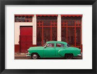Framed Cuba, Havana Green Car, Red Building On The Streets