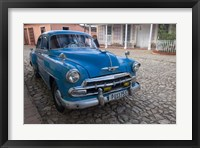 Framed Cuba, Trinidad Blue Taxi Parked On Cobblestones