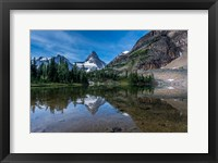 Framed Mount Assiniboine Reflected In Sunburst Lake
