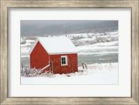 Framed North America, Canada, Nova Scotia, Cape Breton, Cabot Trail, Red Shed In Winter