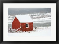 Framed North America, Canada, Nova Scotia, Cape Breton, Cabot Trail, Red Shed In Winter