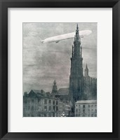 Framed WORLD WAR I (1914-1918) First German Zeppelin Over Antwerp