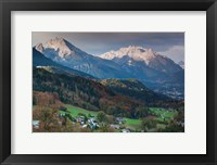 Framed Germany, Bavaria, Elevated Town View From The Rossfeld Panoramic Ring Road In Fall