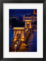 Framed Hungary, Budapest Chain Bridge Lit At Night