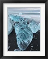 Framed Icebergs On Black Volcanic Beach Vatnajokull, Iceland