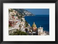 Framed View Along The Amalfi Coast Of The Hillside Town Of Positano, Campania Italy