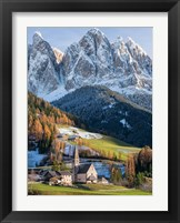 Framed Church Sankt Magdalena In Villnoess Valley In Autumn, Geisler Mountains Italy