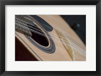 Framed Portugal, Coimbra Fado Musician's Portuguese Guitar Head, Sound Box, Pegs And Strings