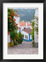 Framed Portugal, Obidos Leira District Cobblestone Walkway
