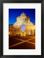 Framed Portugal, Lisbon, Rua Augusta, Commerce Square With The Night Lights Of The City