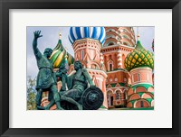 Framed Monument To Minin And Pozharsky St Basil's Basilica Red Square Moscow, Russia
