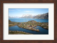 Framed Greenland, Kujalleq, Aappilattoq, View Of Village With Scenic Mountains And Water