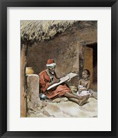 Framed Old Man With Child French Sudan 1893