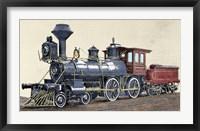 Framed Locomotive Drawing R Loewenstein 'La Ilustracion' 1881