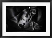 Framed Still-Life Black And White Image Of A Violin