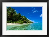 Framed White Sand Beach In Turquoise Water In The Ant Atoll, Micronesia