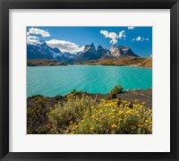 Framed Chile, Patagonia, Torres Del Paine National Park The Horns Mountains And Lago Pehoe