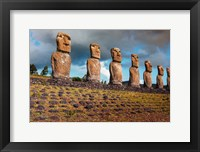 Framed Easter Island, Chile A Row Of Moai Statues