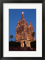 Framed Mexico, San Miguel De Allende Cathedral Of San Miguel Archangel Lit Up At Night