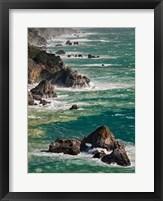 Framed California, Big Sur Waves Hit Coast And Rocks