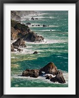 Framed California, Big Sur Waves Hit Coast And Rocks