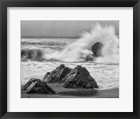 Framed California, Garrapata Beach, Crashing Surf (BW)