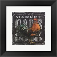 Framed Chalkboard Rooster Cafe