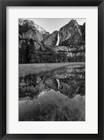 Framed Reflective Pool In Upper Yosemite Falls (BW)