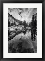 Framed Reflective Lake At Yosemite NP (BW)